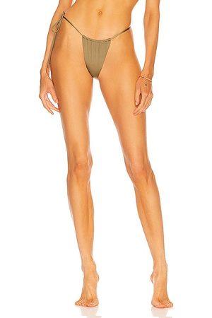 Monica Hansen Beachwear 90's Vibe Side Tie String Bottom in Olive