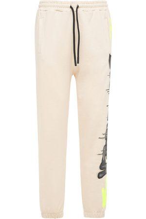 DISCLAIMER Men Sweatpants - Neon Logo Printed Cotton Sweatpants