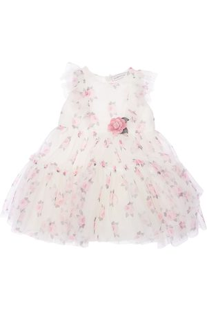 MONNALISA Girls Printed Dresses - Floral Print Tulle Party Dress