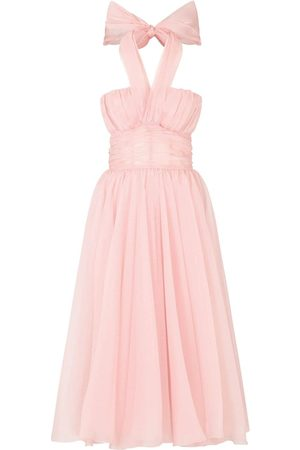 Dolce & Gabbana Pleated silk-chiffon halterneck dress