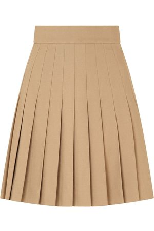 Dolce & Gabbana Women Pleated Skirts - Short pleated cotton skirt - Neutrals