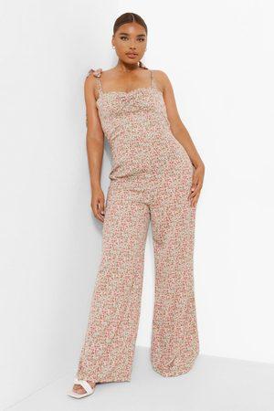 Boohoo Womens Plus Ditsy Floral Corset Wide Leg Jumpsuit - - 12