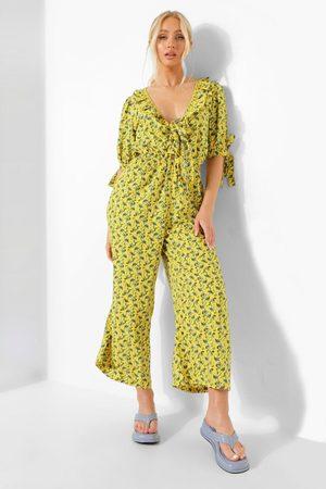 Boohoo Womens Floral Plunge Tie Sleeve Culotte Jumpsuit - - 4