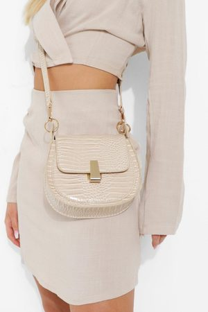Boohoo Womens Front Clasp Croc Cross Body Bag - - One Size