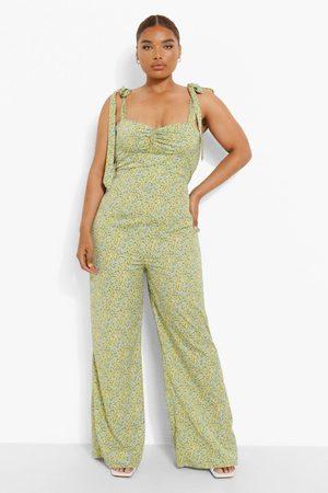 Boohoo Women Corsets - Womens Plus Ditsy Floral Corset Wide Leg Jumpsuit - - 12