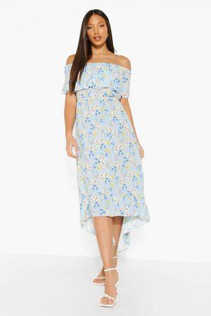 Boohoo Women Printed Dresses - Womens Tall Woven Floral Print Off The Shoulder Maxi Dress - - 2