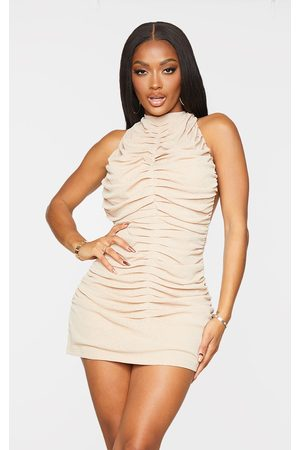 PRETTYLITTLETHING Women Bodycon Dresses - Shape Stone Halterneck Ruched Backless Bodycon Dress