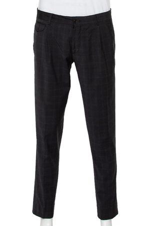 Dolce & Gabbana Charcoal Grey Checkered Wool Tapered Leg Pants L