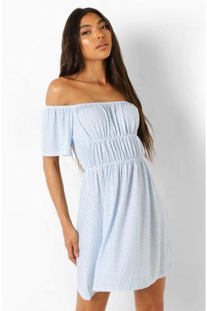 Boohoo Womens Tall Ruched Detail Angel Sleeve Mini Dress - - 4