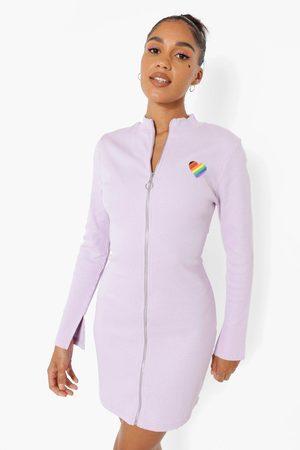 Boohoo Womens Embroidered Zip Up Rib Mini Dress - - 2