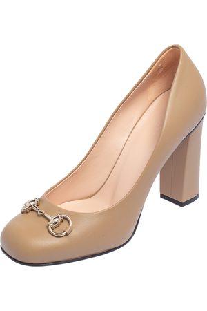 Gucci Leather Horsebit Block Heel Pumps Size 39