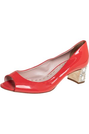 Miu Miu Patent Leather Crystal Embellished Block Heel Peep Toe Pumps Size 38.5