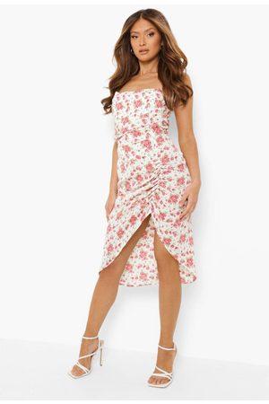 Boohoo Women Printed Dresses - Womens Ditsy Floral Bandeau Midi Dress - - 4