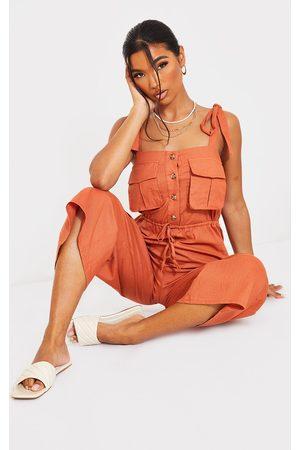 PRETTYLITTLETHING Women Culottes - Rust Tie Strap Pocket Detail Culotte Jumpsuit