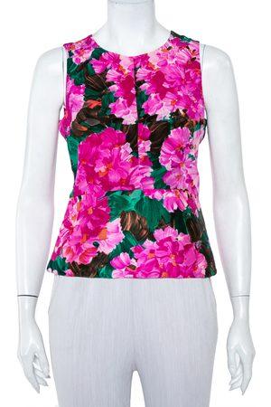 Balenciaga Women Tank Tops - Floral Printed Silk Sleeveless Top M