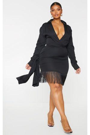 PRETTYLITTLETHING Plus Long Sleeve Tassel Hem Drape Detail Bodycon Dress