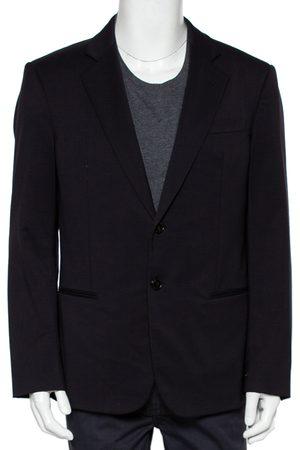 Armani Navy Wool Super 150's Button Front Blazer XXL