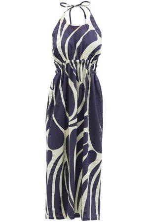 Cala De La Cruz Robyn Halterneck Abstract-print Linen Midi Dress - Womens - Navy Multi