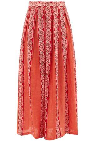 LE SIRENUSE, POSITANO Sophia Calypso Printed Pleated Linen Skirt - Womens