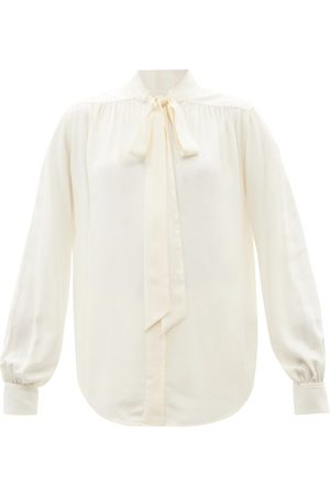 Victoria Beckham Pussybow Gathered Silk-georgette Blouse - Womens - Ivory