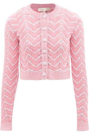 LOVESHACKFANCY Melrose Cotton-blend Chevron-knit Cardigan - Womens