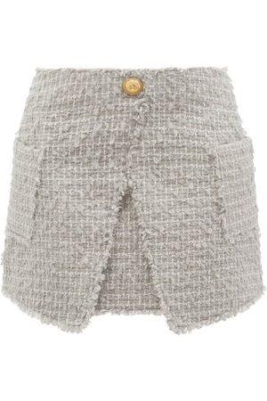 Balmain Wrap-effect Tweed Mini Skirt - Womens - Grey