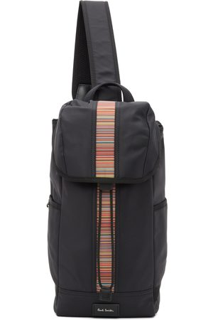 Paul Smith Black Canvas Signature Stripe Sling Backpack