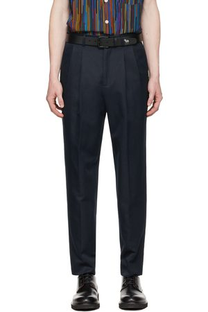 Paul Smith Navy Cotton & Linen Chino Trousers