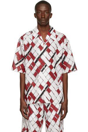 3.1 Phillip Lim Red & White Chainlink Poplin Short Sleeve Shirt