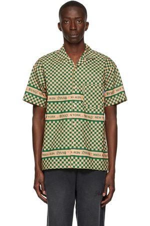AWAKE NY Green & Beige Checkerboard Camp Collar Logo Short Sleeve Shirt