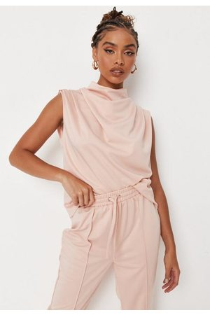 Missguided Women Tank Tops - Pink Co Ord Sleeveless Cowl Neck Top