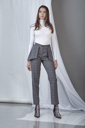 DALB Women Straight - Sharp Pants (Check Wool Straight-Leg Pants)
