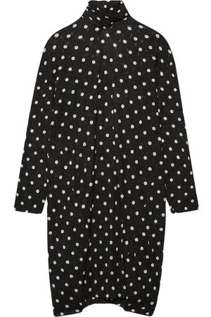 Balenciaga Lavallière dot-print creased ribbed dress