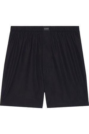 Balenciaga Men Boxer Shorts - Logo-patch buttoned-fly boxer shorts