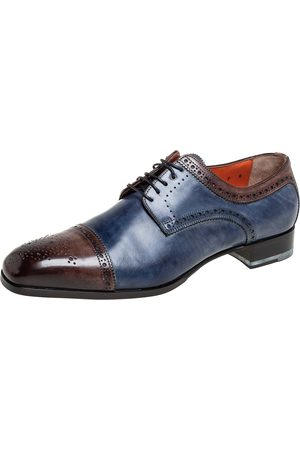 santoni /Brown Brogue Leather Lace Up Derby Size 43