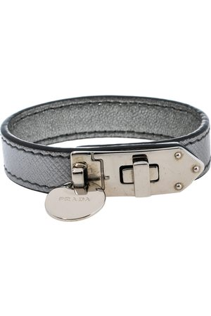 Prada Saffiano Leather Turn Lock Bracelet S