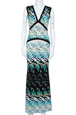 Roberto Cavalli Women Knitted Dresses - Printed Knit Paneled Sleeveless Maxi Dress M