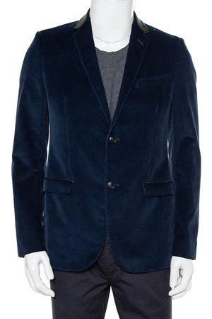 Gucci Men Blazers - Navy Corduroy Leather Trim Button Front Blazer M