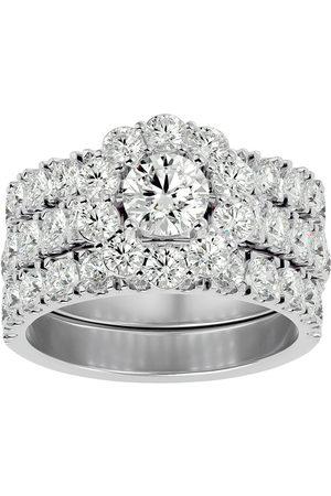 SuperJeweler 4 1/4 Carat Round Shape Diamond Bridal Ring Set w/ Two Wedding Bands in 14K (9.5 g) (