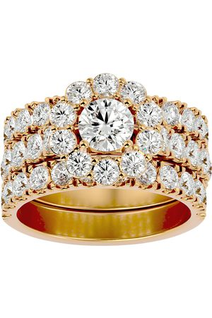 SuperJeweler 4 1/4 Carat Round Shape Diamond Bridal Ring Set w/ Two Wedding Bands in 14K Gold (9.5 g) (