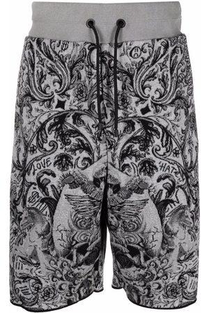 Philipp Plein Men Bermudas - New-baroque jacquard jogging shorts - Grey