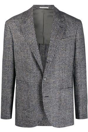 Brunello Cucinelli Men Blazers - Checked single-breasted blazer - Grey