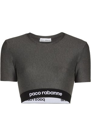 Paco rabanne Logo tape cropped top - Grey