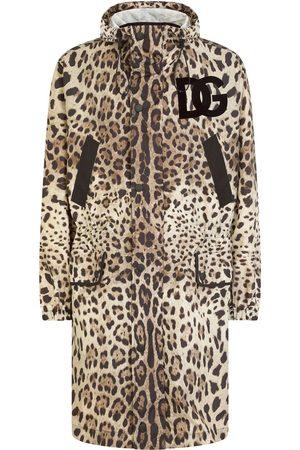Dolce & Gabbana DG logo-patch leopard-print raincoat
