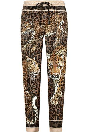 Dolce & Gabbana Leopard-print silk track pants