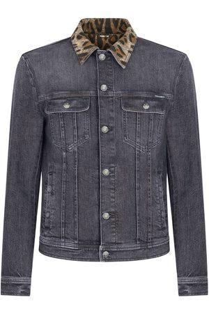 Dolce & Gabbana Men Denim Jackets - Leopard collar button-front denim jacket