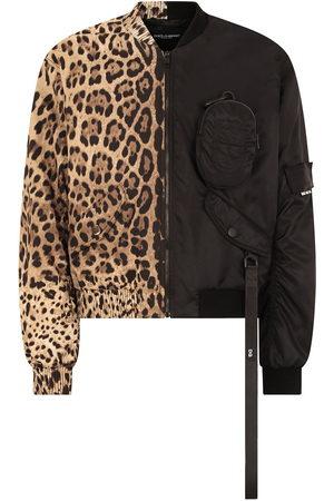 Dolce & Gabbana Men Bomber Jackets - Leopard-print spliced bomber jacket