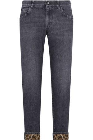 Dolce & Gabbana Men Slim - Leopard-trim slim-fit jeans