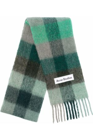 Acne Studios Scarves - Vally checked knitted scarf