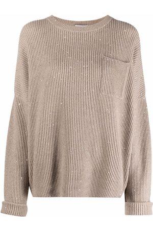 Brunello Cucinelli Ribbed-knit long-sleeve jumper - Neutrals